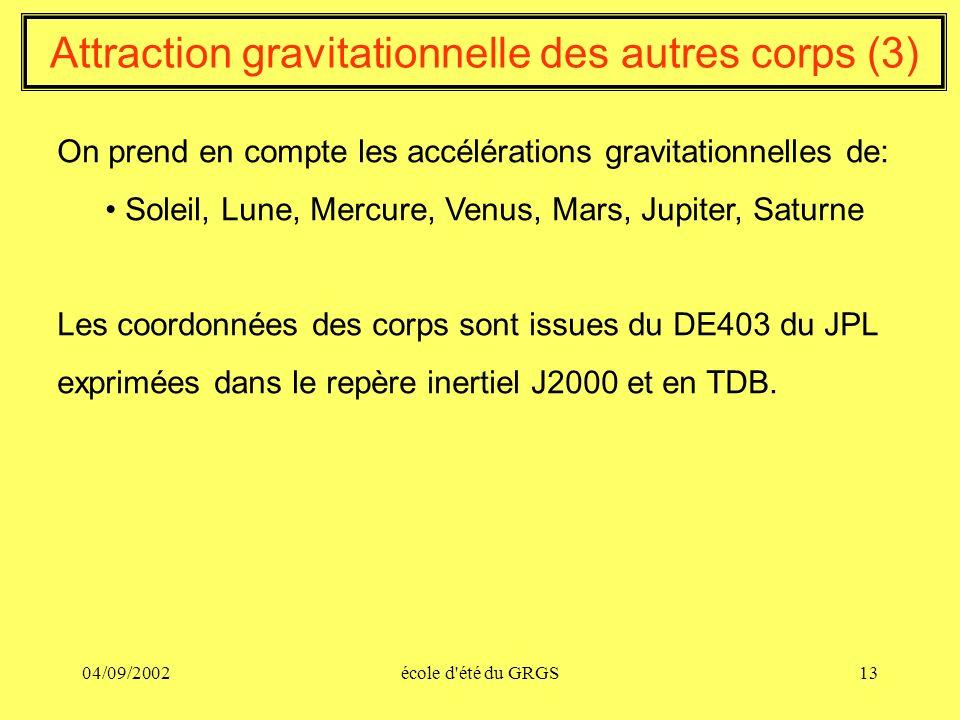 04/09/2002école d'été du GRGS13 Attraction gravitationnelle des autres corps (3) On prend en compte les accélérations gravitationnelles de: Soleil, Lu