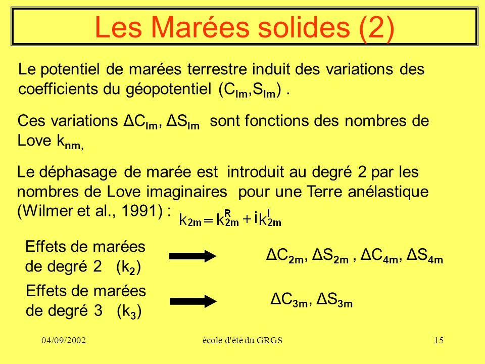 04/09/2002école d'été du GRGS15 Les Marées solides (2) Le potentiel de marées terrestre induit des variations des coefficients du géopotentiel (C lm,S