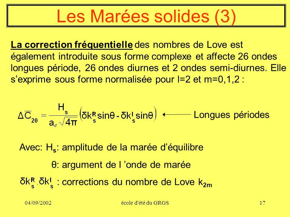 04/09/2002école d'été du GRGS17 Les Marées solides (3) La correction fréquentielle des nombres de Love est également introduite sous forme complexe et