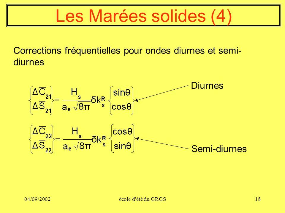 04/09/2002école d'été du GRGS18 Diurnes Semi-diurnes Les Marées solides (4) Corrections fréquentielles pour ondes diurnes et semi- diurnes
