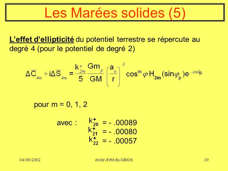 04/09/2002école d'été du GRGS19 Les Marées solides (5) Leffet dellipticité du potentiel terrestre se répercute au degré 4 (pour le potentiel de degré