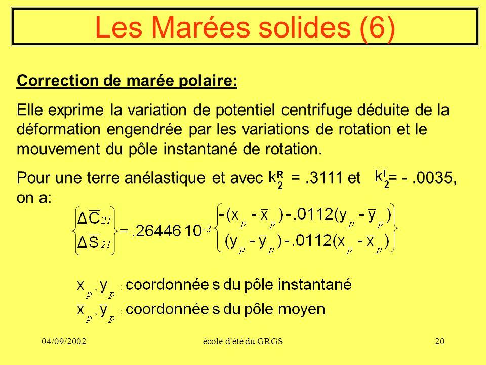 04/09/2002école d'été du GRGS20 Les Marées solides (6) Correction de marée polaire: Elle exprime la variation de potentiel centrifuge déduite de la dé