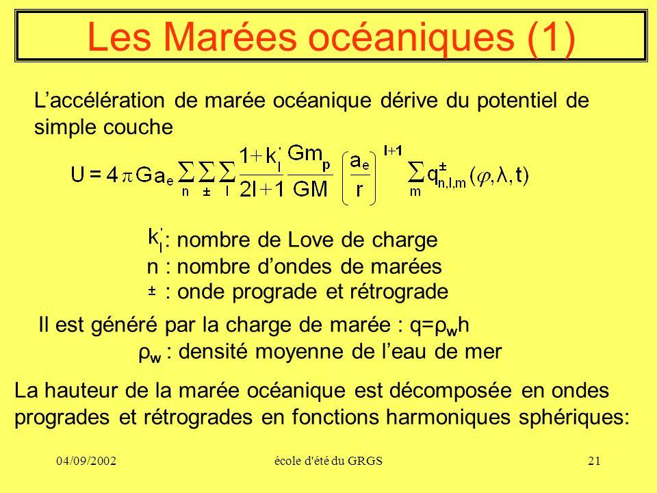 04/09/2002école d'été du GRGS21 Les Marées océaniques (1) Laccélération de marée océanique dérive du potentiel de simple couche Il est généré par la c