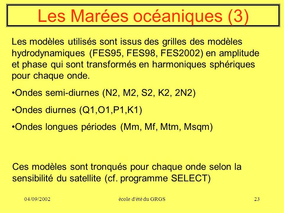04/09/2002école d'été du GRGS23 Les Marées océaniques (3) Les modèles utilisés sont issus des grilles des modèles hydrodynamiques (FES95, FES98, FES20