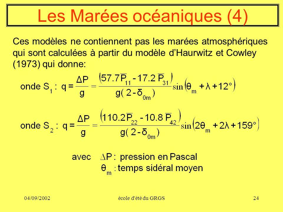 04/09/2002école d'été du GRGS24 Les Marées océaniques (4) Ces modèles ne contiennent pas les marées atmosphériques qui sont calculées à partir du modè