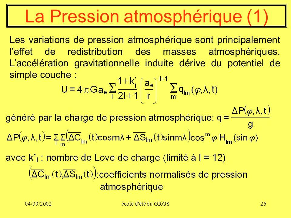04/09/2002école d'été du GRGS26 La Pression atmosphérique (1) Les variations de pression atmosphérique sont principalement leffet de redistribution de