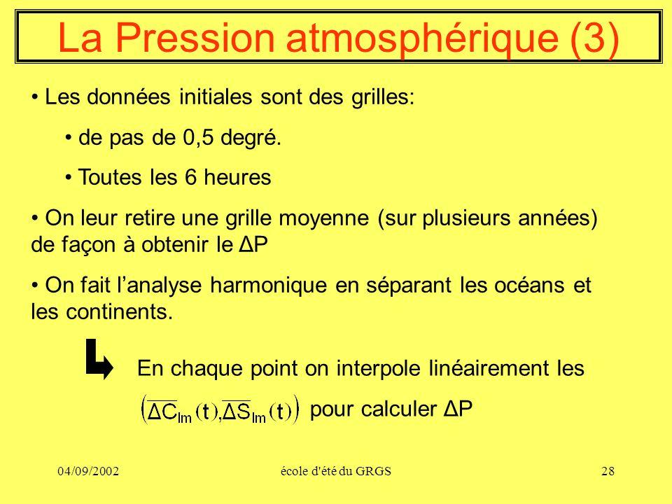 04/09/2002école d'été du GRGS28 La Pression atmosphérique (3) Les données initiales sont des grilles: de pas de 0,5 degré. Toutes les 6 heures On leur