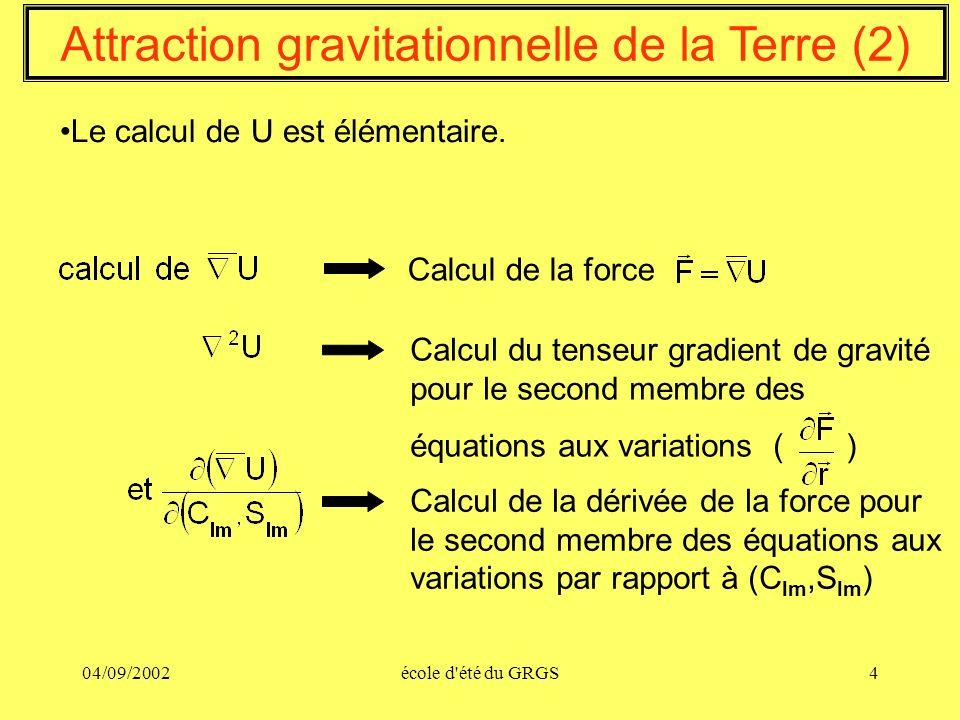 04/09/2002école d'été du GRGS4 Le calcul de U est élémentaire. Attraction gravitationnelle de la Terre (2) Calcul de la force Calcul du tenseur gradie
