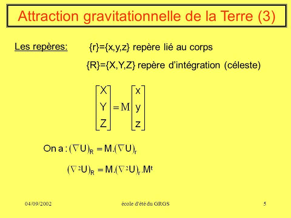 04/09/2002école d'été du GRGS5 Attraction gravitationnelle de la Terre (3) Les repères: {R}={X,Y,Z} repère dintégration (céleste) {r}={x,y,z} repère l