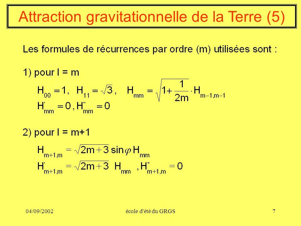 04/09/2002école d'été du GRGS7 Attraction gravitationnelle de la Terre (5)