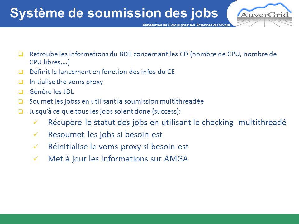 Plateforme de Calcul pour les Sciences du Vivant Système de soumission des jobs Retroube les informations du BDII concernant les CD (nombre de CPU, no