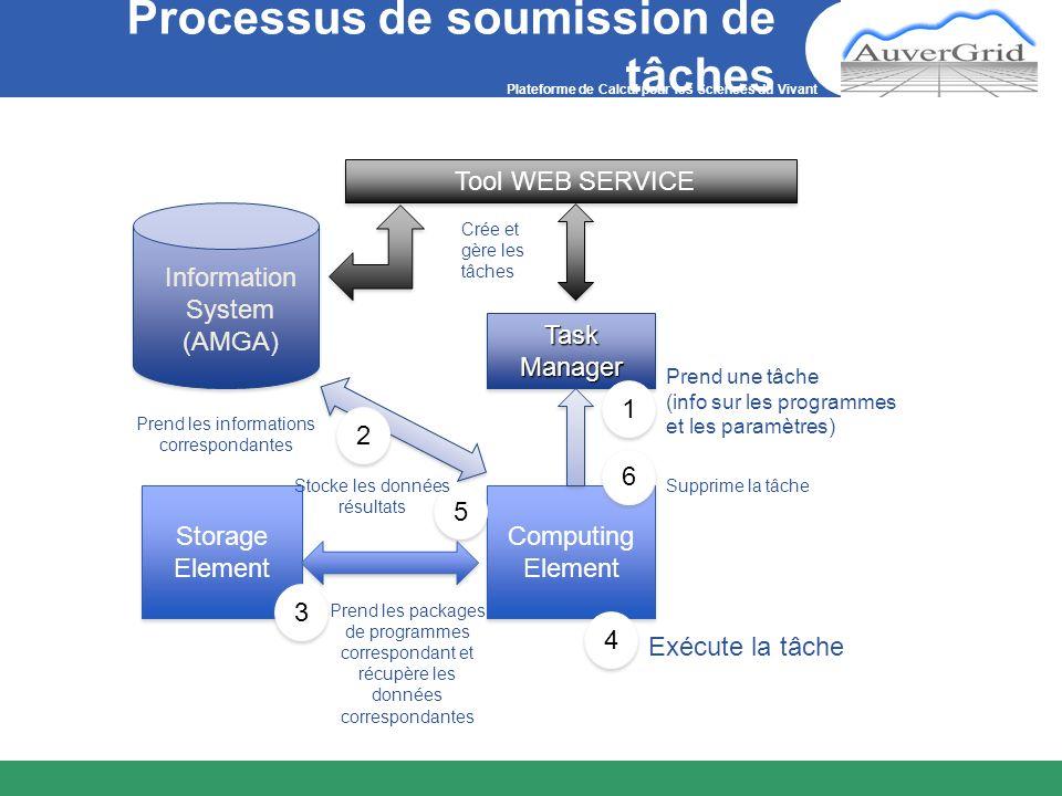 Plateforme de Calcul pour les Sciences du Vivant Processus de soumission de tâches Information System (AMGA) Tool WEB SERVICE Task Manager Crée et gèr