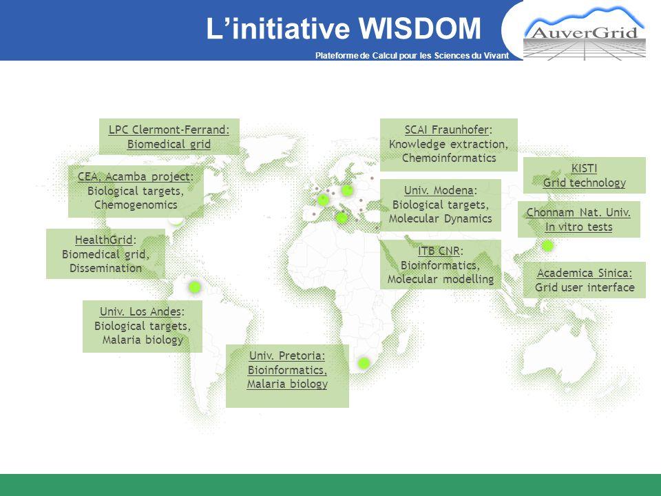 Plateforme de Calcul pour les Sciences du Vivant Linitiative WISDOM Univ. Los Andes: Biological targets, Malaria biology LPC Clermont-Ferrand: Biomedi