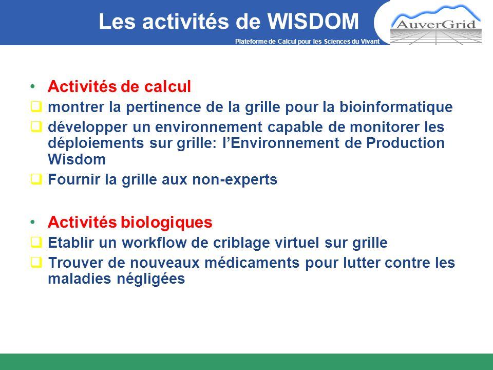 Plateforme de Calcul pour les Sciences du Vivant Les activités de WISDOM Activités de calcul montrer la pertinence de la grille pour la bioinformatiqu