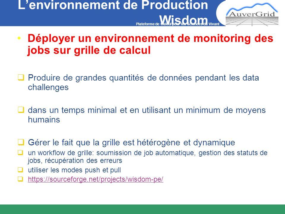 Plateforme de Calcul pour les Sciences du Vivant Lenvironnement de Production Wisdom Déployer un environnement de monitoring des jobs sur grille de ca