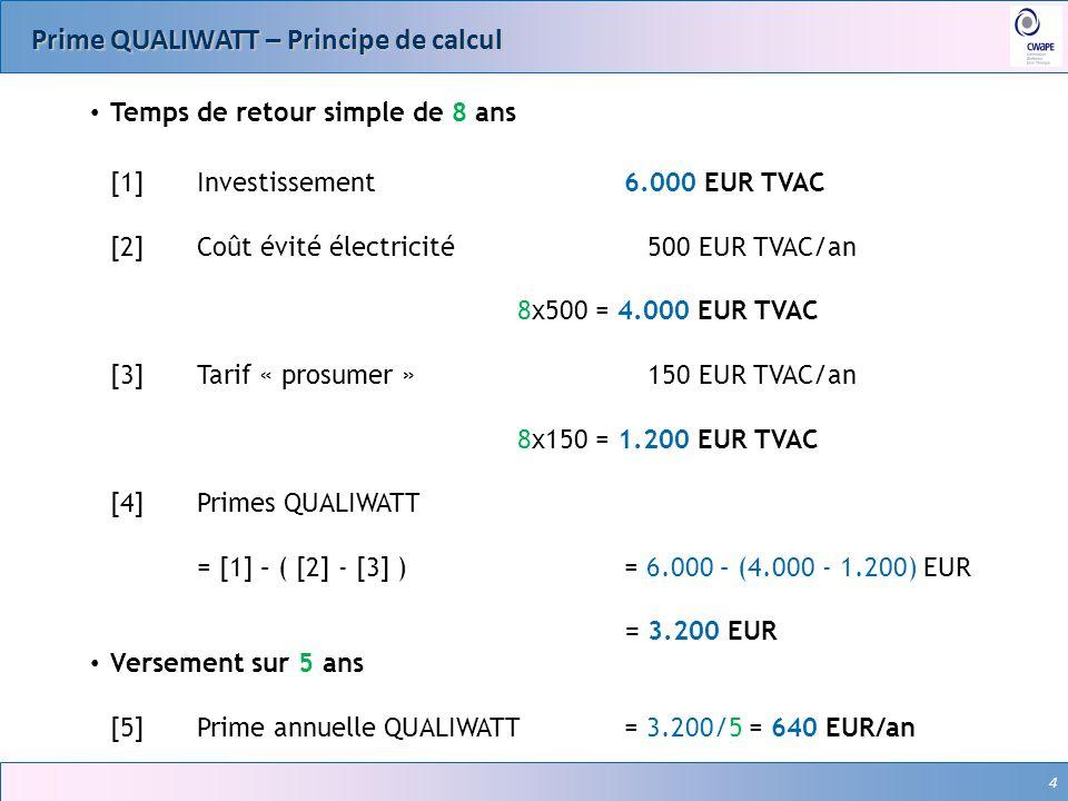 4 Prime QUALIWATT – Principe de calcul 4 Temps de retour simple de 8 ans [1]Investissement 6.000 EUR TVAC [2]Coût évité électricité 500 EUR TVAC/an 8x500 = 4.000 EUR TVAC [3]Tarif « prosumer » 150 EUR TVAC/an 8x150 = 1.200 EUR TVAC [4] Primes QUALIWATT = [1] – ( [2] - [3] )= 6.000 – (4.000 - 1.200) EUR = 3.200 EUR Versement sur 5 ans [5] Prime annuelle QUALIWATT= 3.200/5 = 640 EUR/an