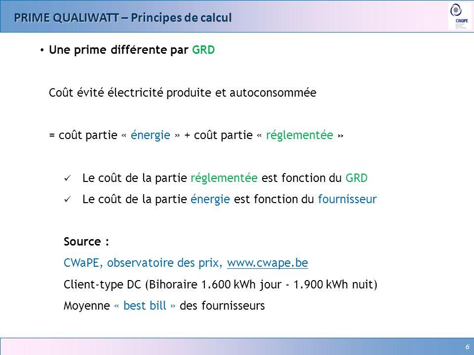 6 PRIME QUALIWATT – Principes de calcul 6 Une prime différente par GRD Coût évité électricité produite et autoconsommée = coût partie « énergie » + co
