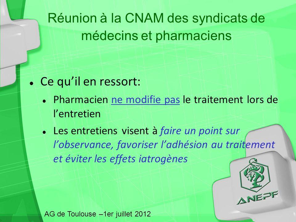 Réunion à la CNAM des syndicats de médecins et pharmaciens Ce quil en ressort: Pharmacien ne modifie pas le traitement lors de lentretien Les entretie