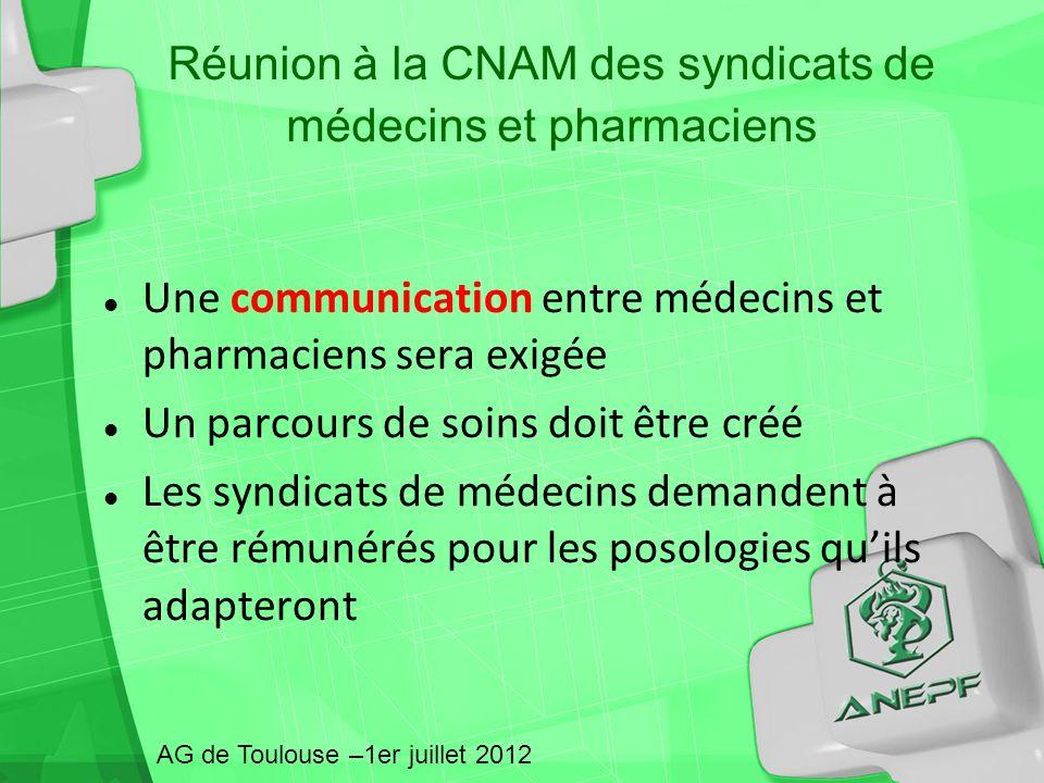 Réunion à la CNAM des syndicats de médecins et pharmaciens Une communication entre médecins et pharmaciens sera exigée Un parcours de soins doit être