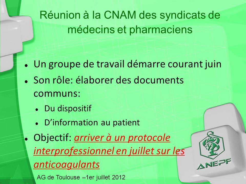 Réunion à la CNAM des syndicats de médecins et pharmaciens Un groupe de travail démarre courant juin Son rôle: élaborer des documents communs: Du disp