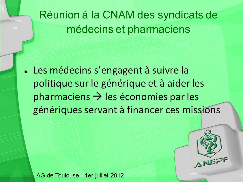 Réunion à la CNAM des syndicats de médecins et pharmaciens Les médecins sengagent à suivre la politique sur le générique et à aider les pharmaciens le