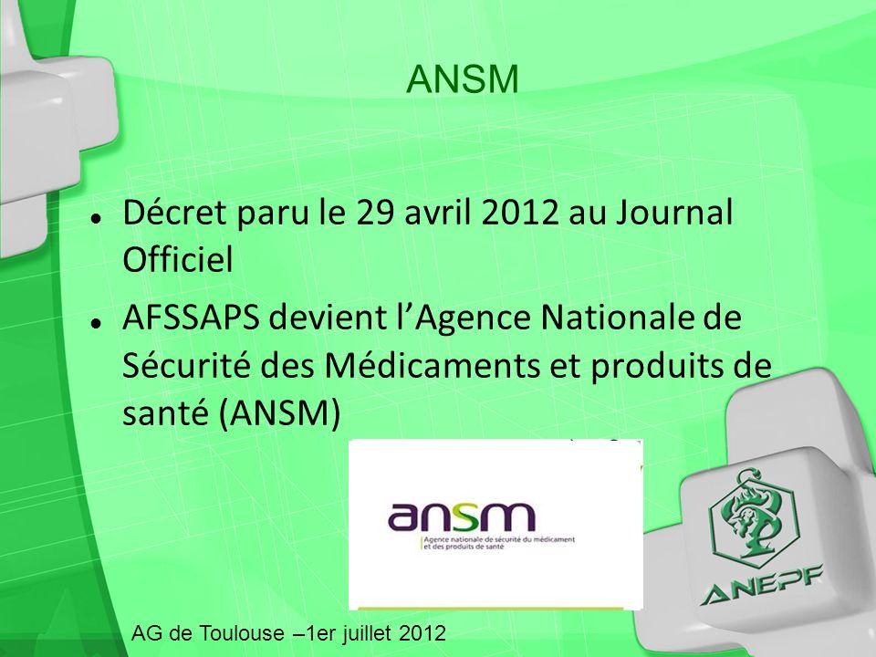 ANSM Décret paru le 29 avril 2012 au Journal Officiel AFSSAPS devient lAgence Nationale de Sécurité des Médicaments et produits de santé (ANSM) AG de