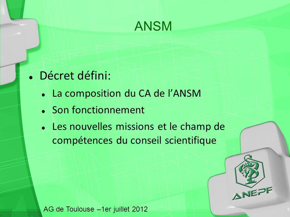 ANSM Décret défini: La composition du CA de lANSM Son fonctionnement Les nouvelles missions et le champ de compétences du conseil scientifique AG de T