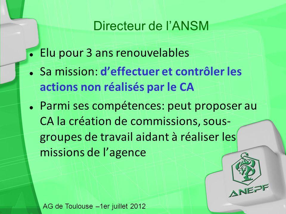 Directeur de lANSM Elu pour 3 ans renouvelables Sa mission: deffectuer et contrôler les actions non réalisés par le CA Parmi ses compétences: peut pro