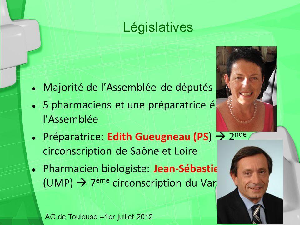 Majorité de lAssemblée de députés sont du PS 5 pharmaciens et une préparatrice élus à lAssemblée Préparatrice: Edith Gueugneau (PS) 2 nde circonscript