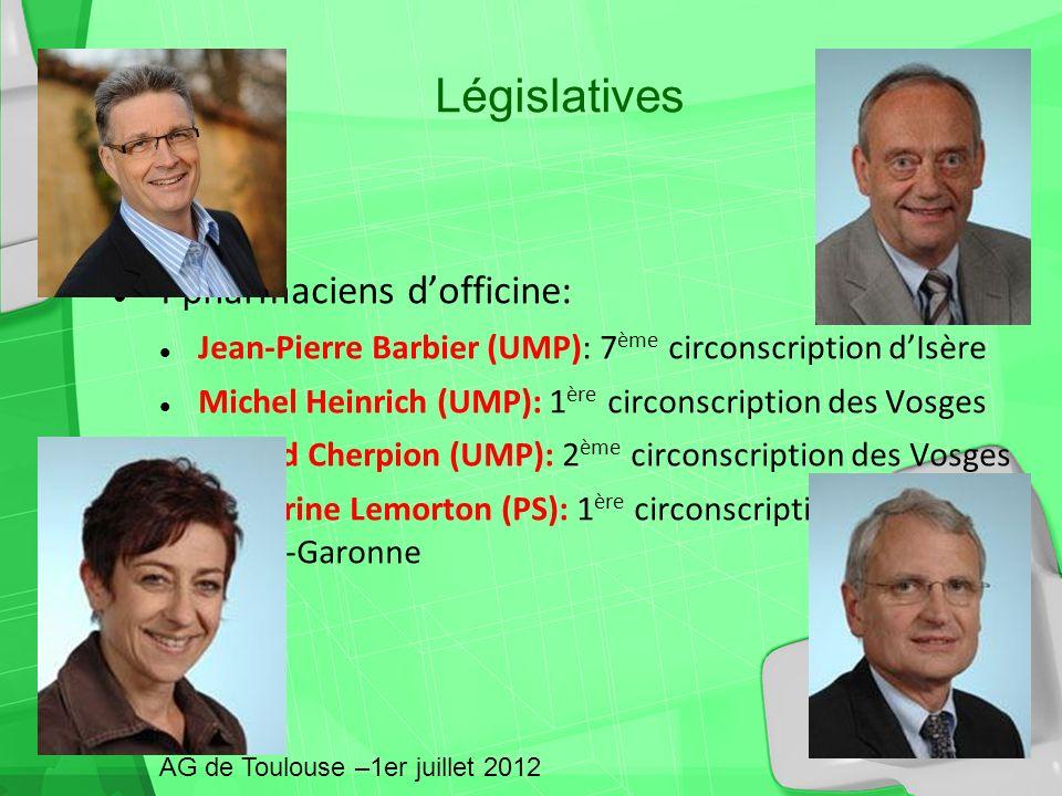 4 pharmaciens dofficine: Jean-Pierre Barbier (UMP): 7 ème circonscription dIsère Michel Heinrich (UMP): 1 ère circonscription des Vosges Gérard Cherpi