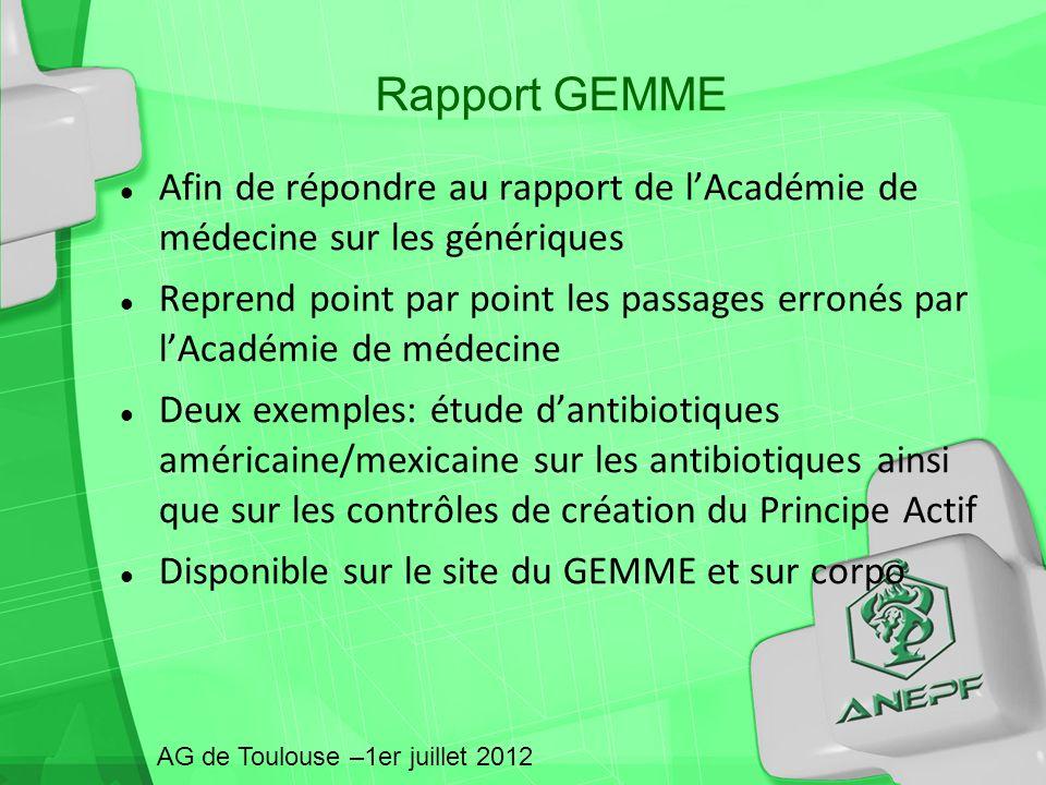 Rapport GEMME AG de Toulouse –1er juillet 2012 Afin de répondre au rapport de lAcadémie de médecine sur les génériques Reprend point par point les pas