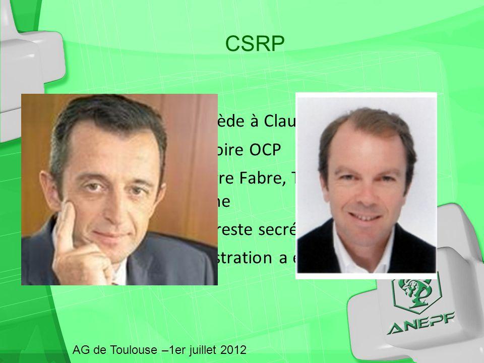 Hubert Olivier succède à Claude Castells Président du directoire OCP A travaillé chez Pierre Fabre, TEVA, a été vice – président du Gemme Emmanuel Déc