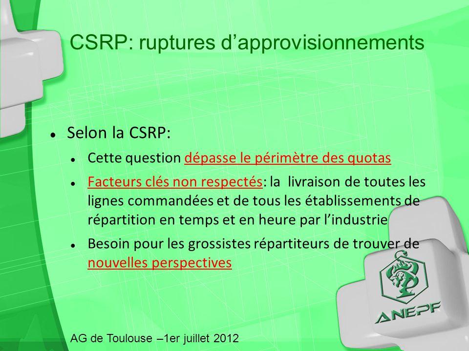 Selon la CSRP: Cette question dépasse le périmètre des quotas Facteurs clés non respectés: la livraison de toutes les lignes commandées et de tous les