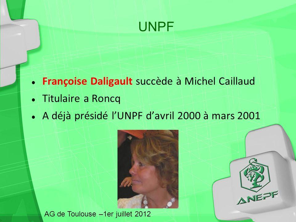 Françoise Daligault succède à Michel Caillaud Titulaire a Roncq A déjà présidé lUNPF davril 2000 à mars 2001 AG de Toulouse –1er juillet 2012 UNPF