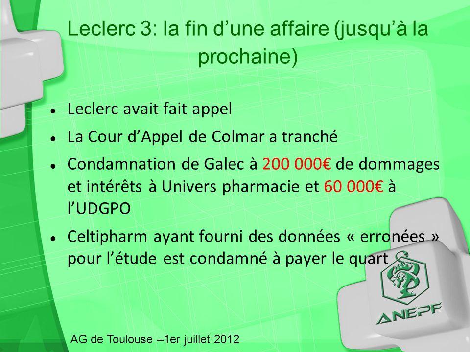 Leclerc avait fait appel La Cour dAppel de Colmar a tranché Condamnation de Galec à 200 000 de dommages et intérêts à Univers pharmacie et 60 000 à lU