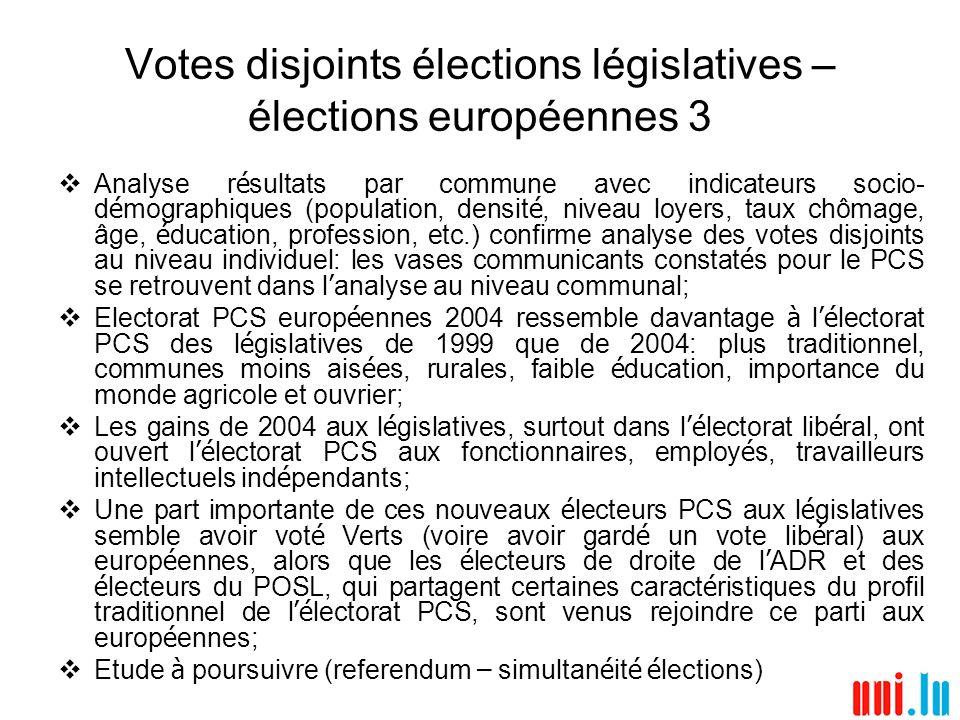Votes disjoints élections législatives – élections européennes 3 Analyse r é sultats par commune avec indicateurs socio- d é mographiques (population,