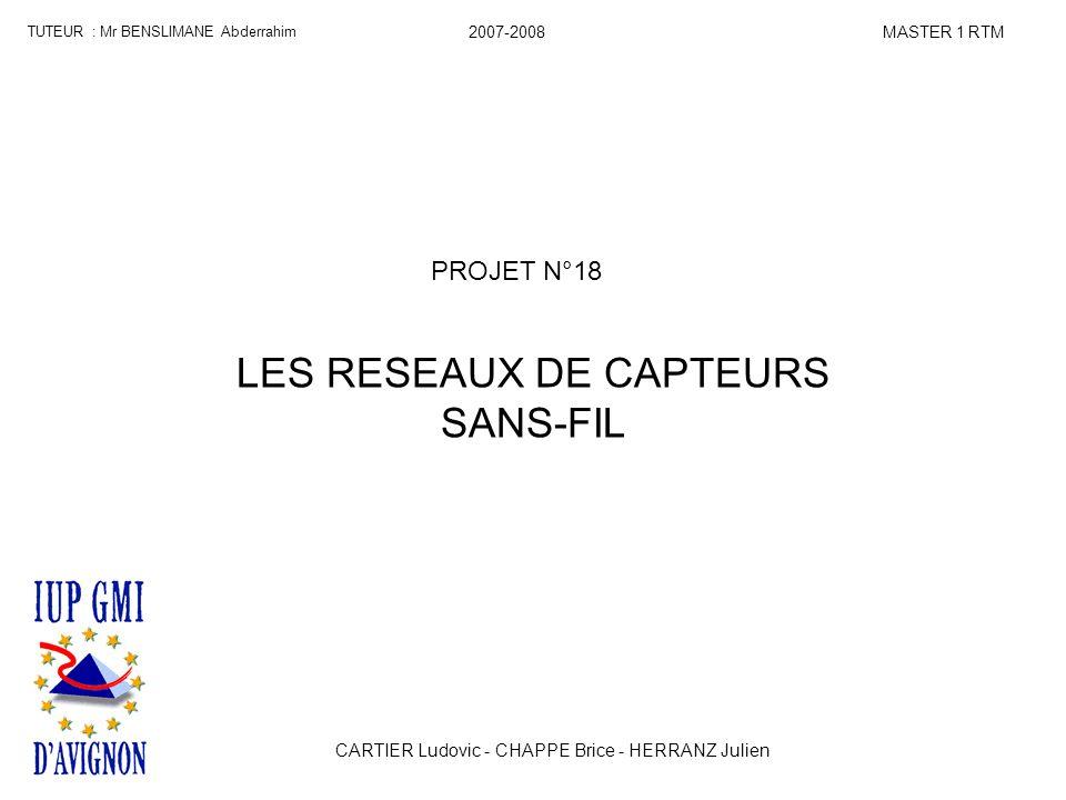 PROJET N°18 LES RESEAUX DE CAPTEURS SANS-FIL TUTEUR : Mr BENSLIMANE Abderrahim MASTER 1 RTM2007-2008 CARTIER Ludovic - CHAPPE Brice - HERRANZ Julien