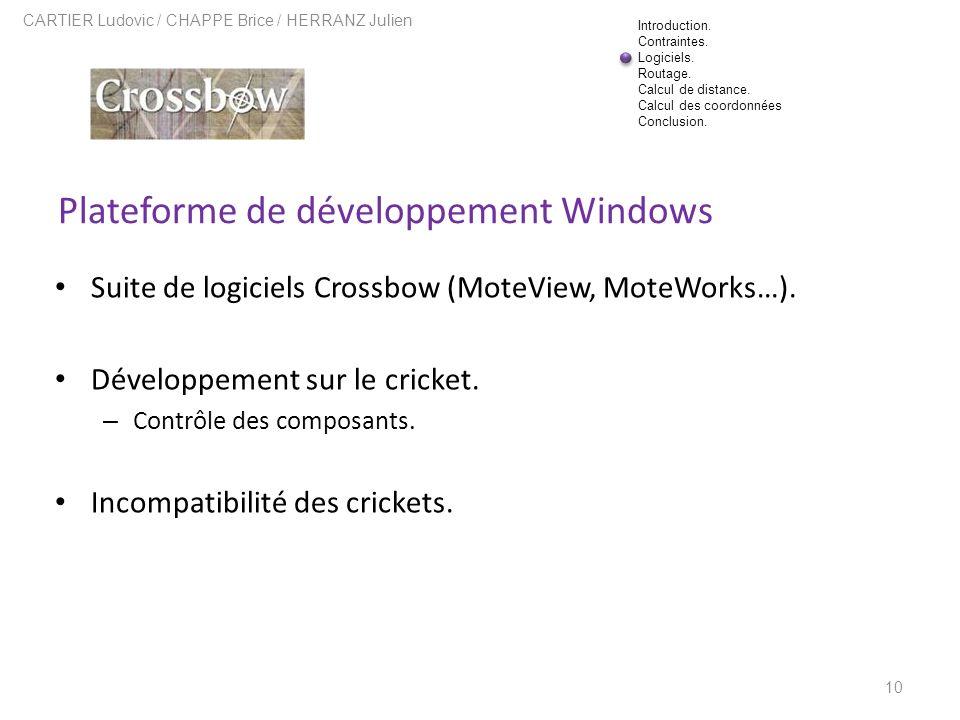 Plateforme de développement Windows 10 CARTIER Ludovic / CHAPPE Brice / HERRANZ Julien Suite de logiciels Crossbow (MoteView, MoteWorks…). Développeme