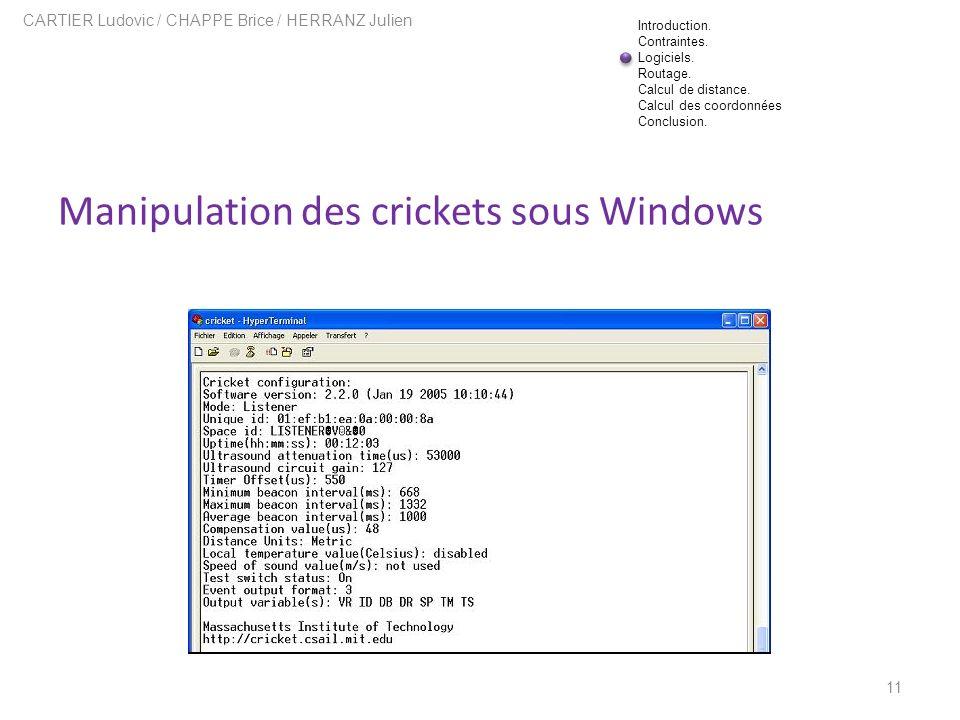 Manipulation des crickets sous Windows 11 CARTIER Ludovic / CHAPPE Brice / HERRANZ Julien Introduction. Contraintes. Logiciels. Routage. Calcul de dis