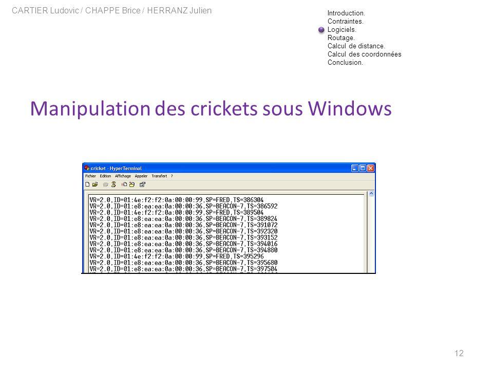 Manipulation des crickets sous Windows 12 CARTIER Ludovic / CHAPPE Brice / HERRANZ Julien Introduction. Contraintes. Logiciels. Routage. Calcul de dis