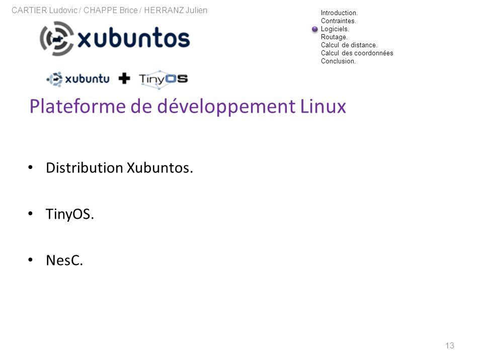 Plateforme de développement Linux 13 CARTIER Ludovic / CHAPPE Brice / HERRANZ Julien Distribution Xubuntos. TinyOS. NesC. Introduction. Contraintes. L