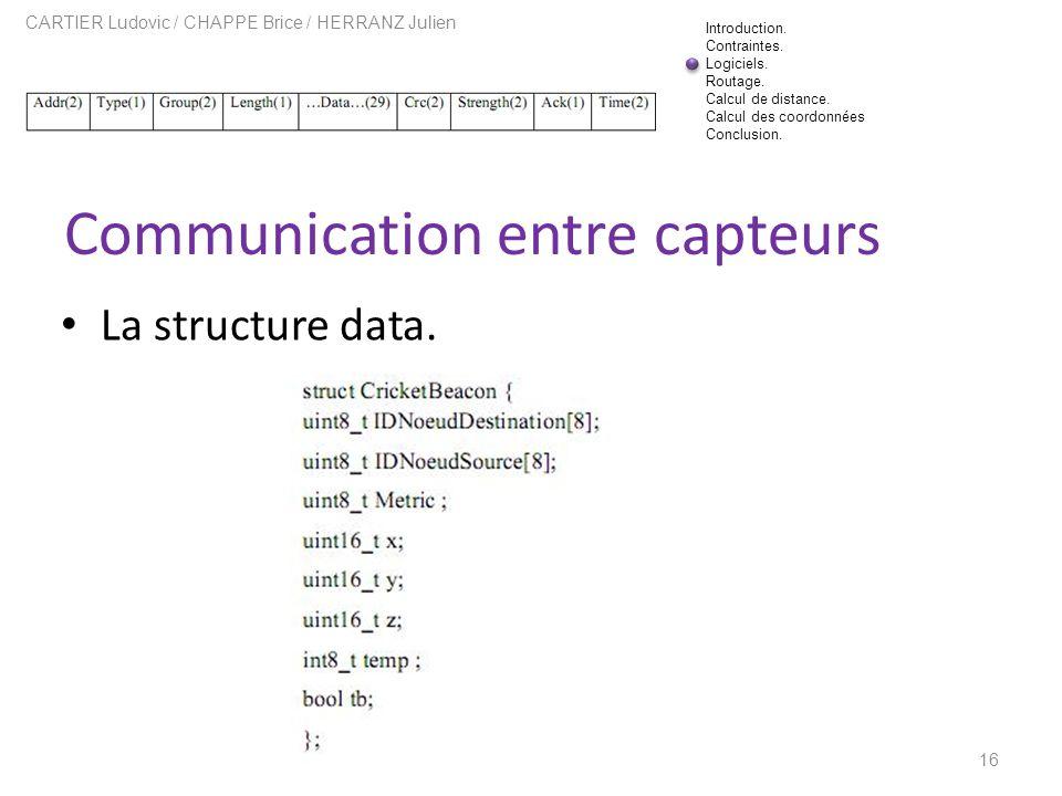 Communication entre capteurs 16 CARTIER Ludovic / CHAPPE Brice / HERRANZ Julien La structure data. Introduction. Contraintes. Logiciels. Routage. Calc