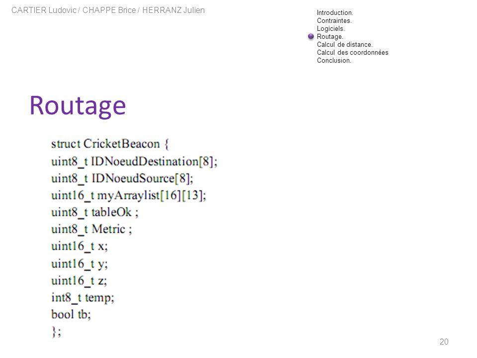 Routage 20 CARTIER Ludovic / CHAPPE Brice / HERRANZ Julien Introduction. Contraintes. Logiciels. Routage. Calcul de distance. Calcul des coordonnées C