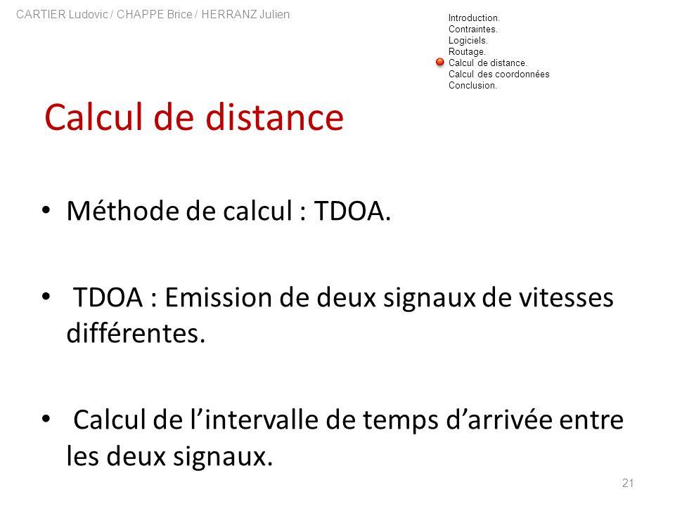 Calcul de distance 21 CARTIER Ludovic / CHAPPE Brice / HERRANZ Julien Méthode de calcul : TDOA. TDOA : Emission de deux signaux de vitesses différente