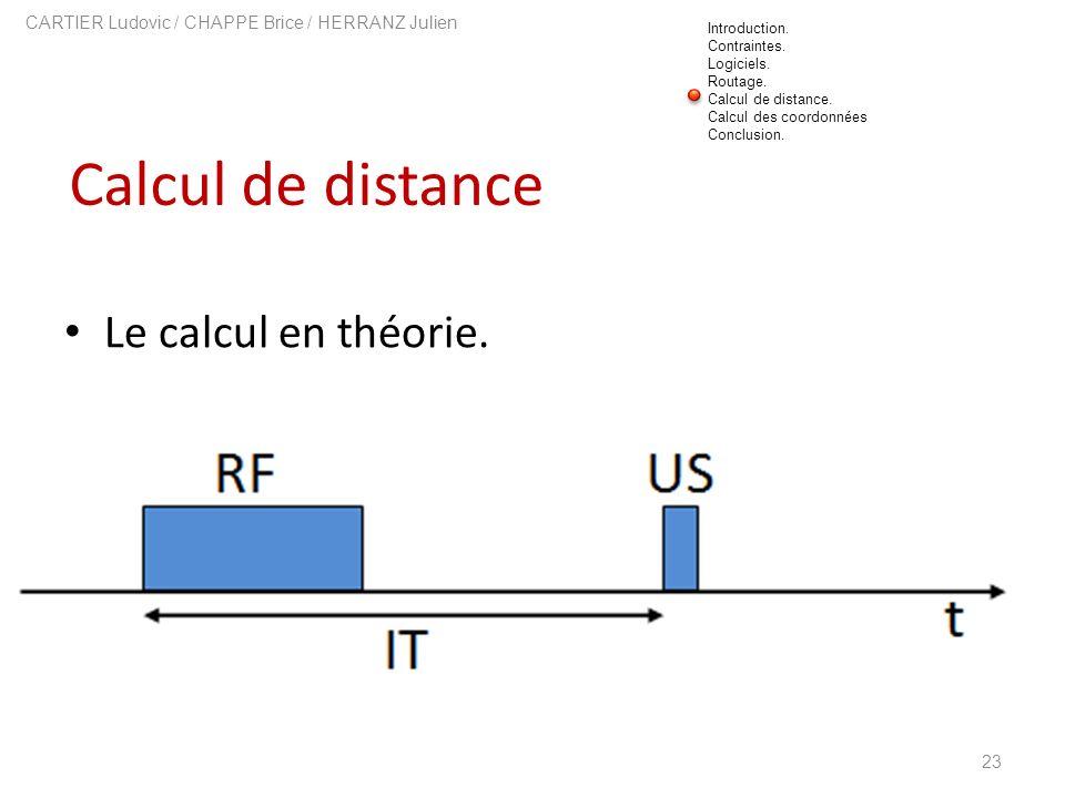Calcul de distance 23 CARTIER Ludovic / CHAPPE Brice / HERRANZ Julien Le calcul en théorie. Introduction. Contraintes. Logiciels. Routage. Calcul de d