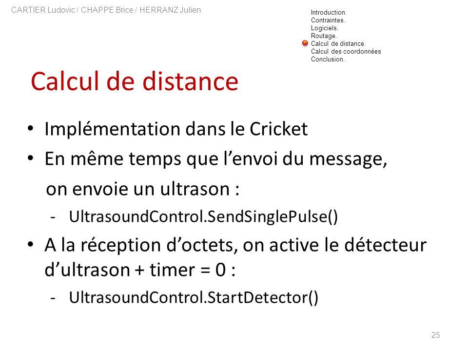 Calcul de distance 25 CARTIER Ludovic / CHAPPE Brice / HERRANZ Julien Implémentation dans le Cricket En même temps que lenvoi du message, on envoie un
