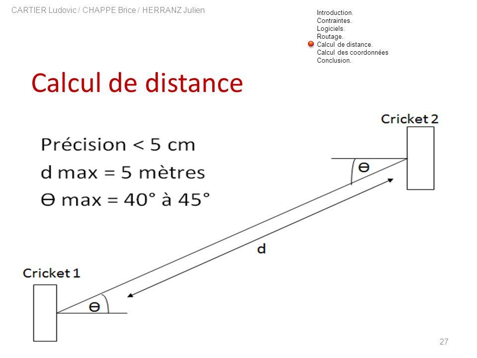 Calcul de distance 27 CARTIER Ludovic / CHAPPE Brice / HERRANZ Julien Introduction. Contraintes. Logiciels. Routage. Calcul de distance. Calcul des co