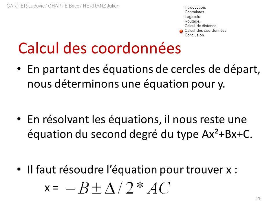 Calcul des coordonnées 29 CARTIER Ludovic / CHAPPE Brice / HERRANZ Julien En partant des équations de cercles de départ, nous déterminons une équation