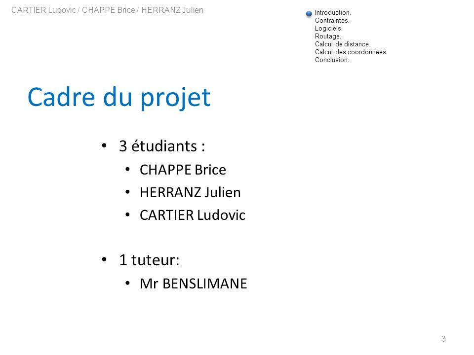 Cadre du projet 3 étudiants : CHAPPE Brice HERRANZ Julien CARTIER Ludovic 1 tuteur: Mr BENSLIMANE 3 CARTIER Ludovic / CHAPPE Brice / HERRANZ Julien In