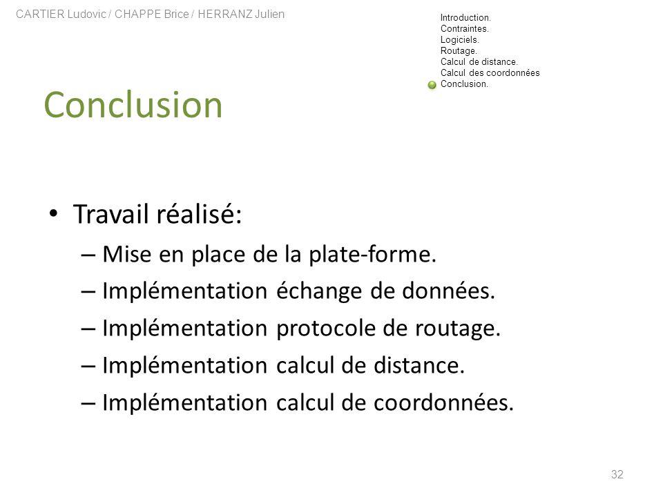 32 Conclusion CARTIER Ludovic / CHAPPE Brice / HERRANZ Julien Travail réalisé: – Mise en place de la plate-forme. – Implémentation échange de données.